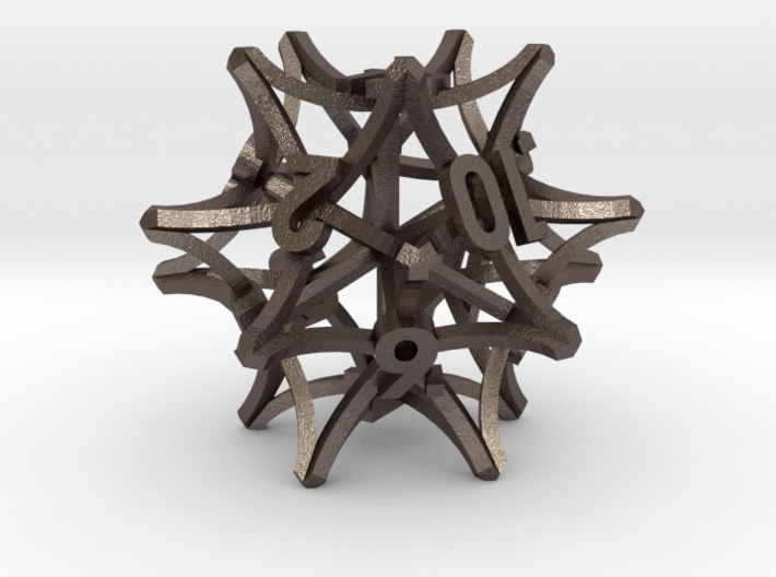 'Radial' D12 balanced gaming die 3d printed