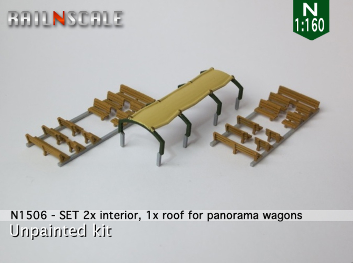 SET 2x Interior, 1x roof for panorama wagon (N) 3d printed