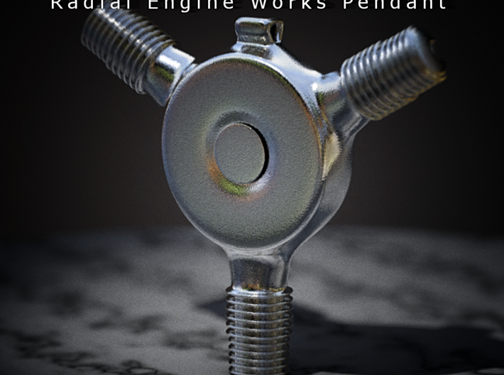 Radial Engine Works Pendant 3d printed