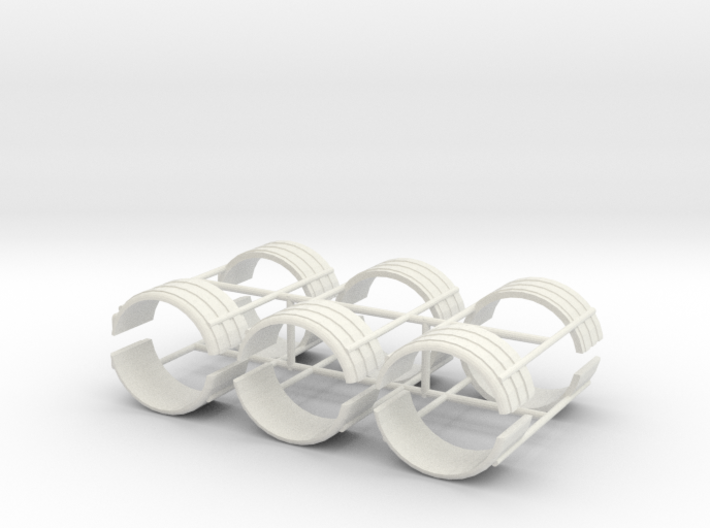 1/64th Dual tire fender set of six 3d printed