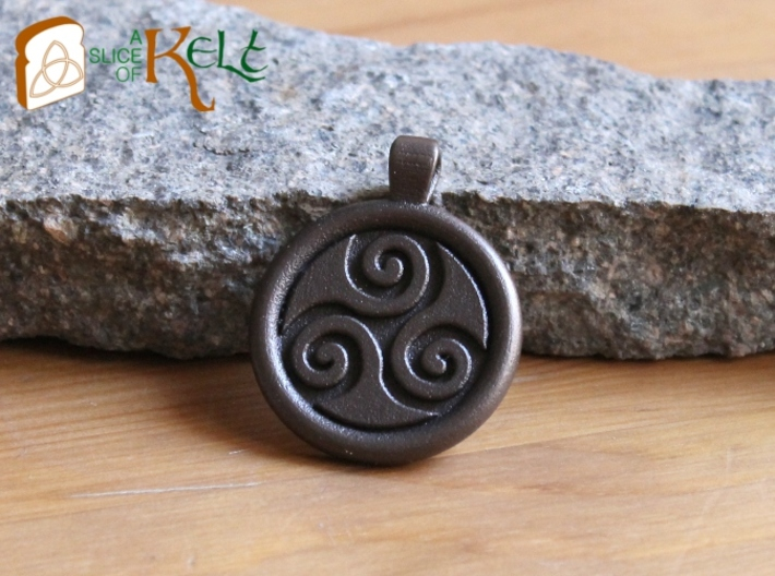 Big Triskell Negative Engrave Pendant 3d printed The piece in bronze