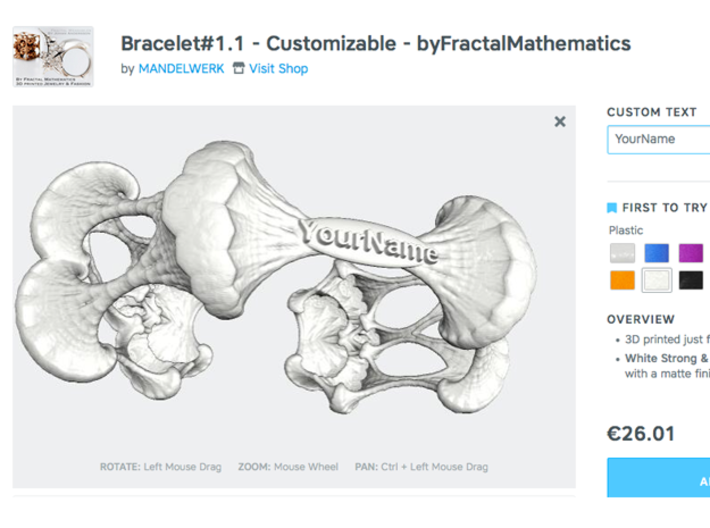 Bracelet#1.1 - Customizable - byFractalMathematics 3d printed