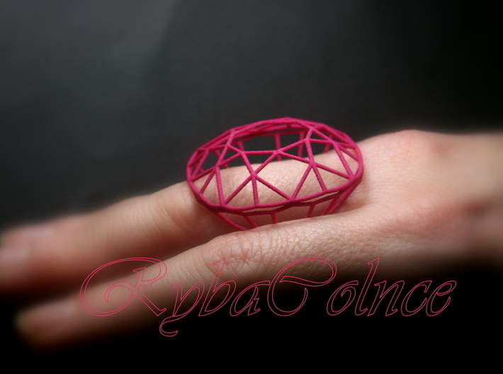 Ring The Diamond / size 6 1/2 US  (17mm) 3d printed