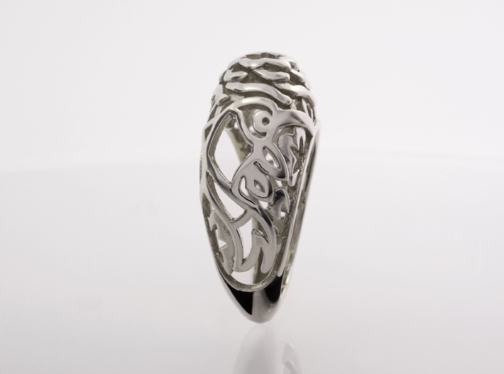 Koi-fish restrains Rose - US 6 3/4 - Ø17 - C53.4 3d printed Photo, Side view, Polished Silver