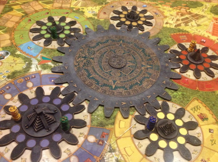 Mayan Pyramids and Calendar center (6 pcs) 3d printed White Strong Flexible, hand-painted. Photo courtesy of user Ted11 (on BGG). Game cogs & board copyright Czech Games / Iello.
