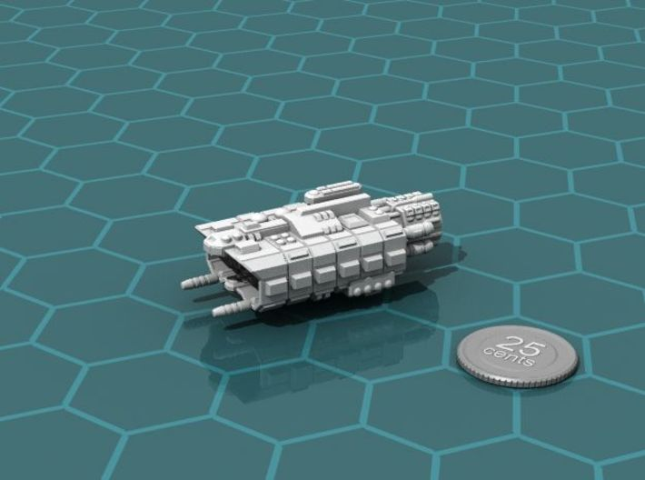 Factory Ship 3d printed Render of the model, with a virtual quarter for scale.