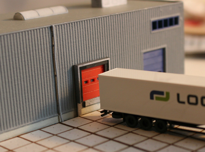 N Scale 3x Loading Dock +Door 3d printed Dock in front of a blank wall (wall visible through the windows). This prototype was printed in Frosted Ultra Detail.