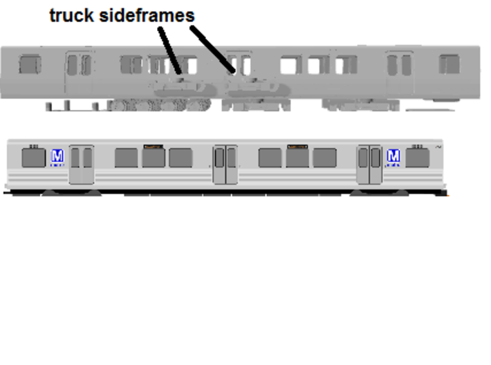 N Scale Washington DC Metro 7000 (4) 3d printed side of B car