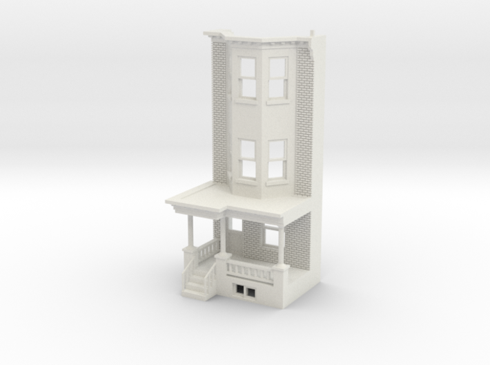 O scale WEST PHILLY 3S ROW HOME Brick LD FRONT 3d printed