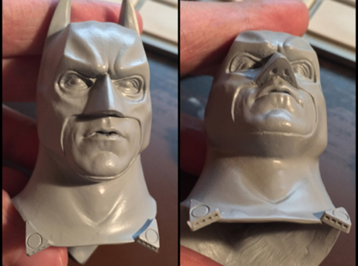 Dark Bat Knight BB Cape Clips 1/6TH 3d printed HEAD SCULPT NOT INCLUDED