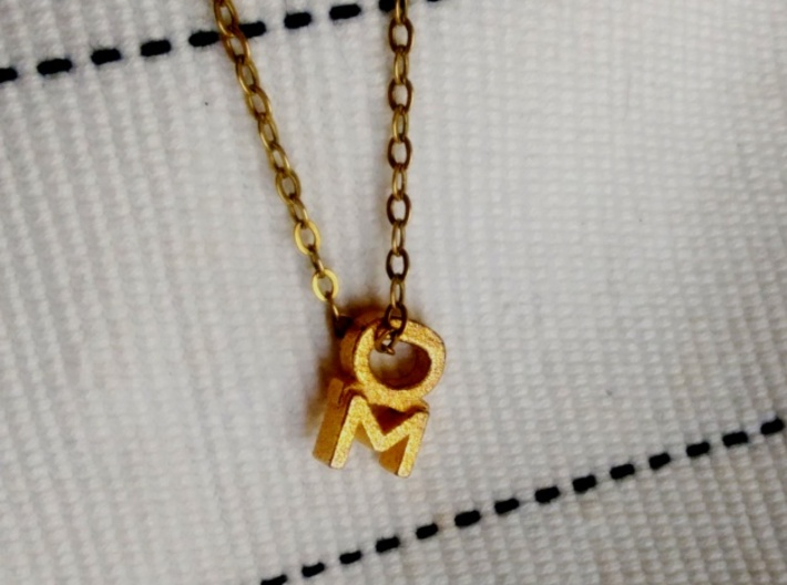 Aspie Symbol 3d printed Polished Gold Steel, Chain not included