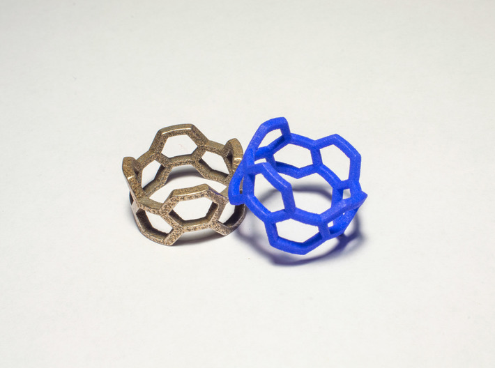 Honey Ring 3d printed Stainless Steel & Royal Blue
