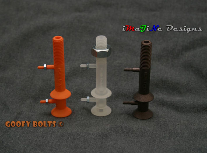 Goofy Bolt-01-Jan-2016 Cutaway 3d printed Prototypes shown with actual nuts attached to them.  Due to the 3D printing process, the Matte Bronze Steel requires post processing by the customer to allow nuts to engage the threads.