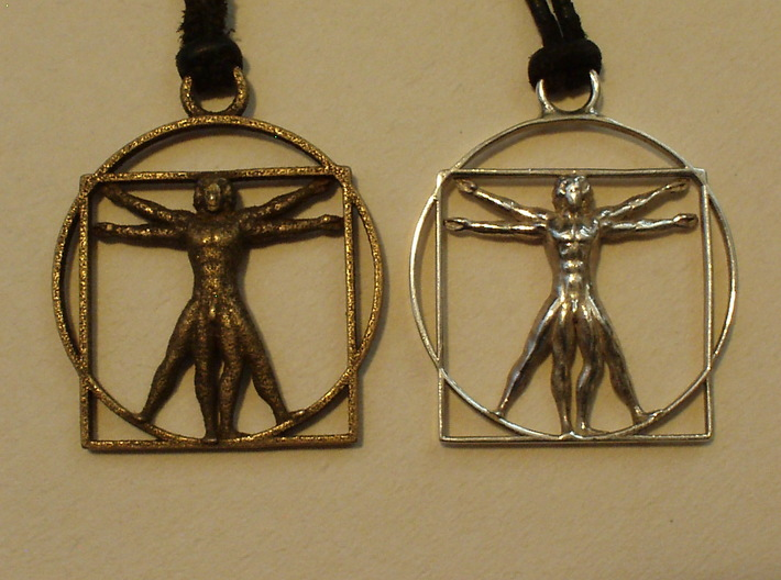 vitruvian man 5cm 3d printed FRONT: Left Stainless Steel, Right Silver