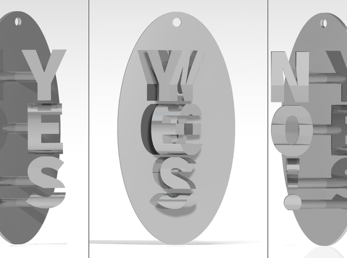 Indecisive Pendant. YES or NO!  3d printed