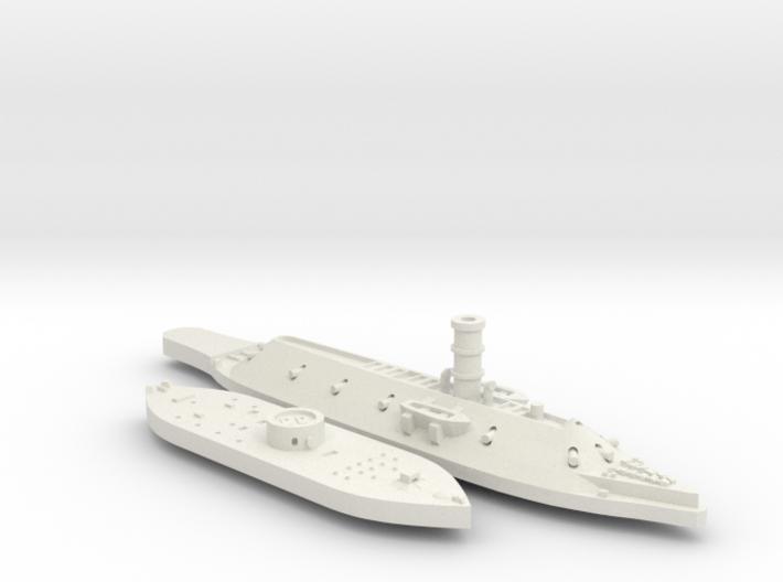 1:1200 Ironclad USS Monitor & CSS Virginia 3d printed