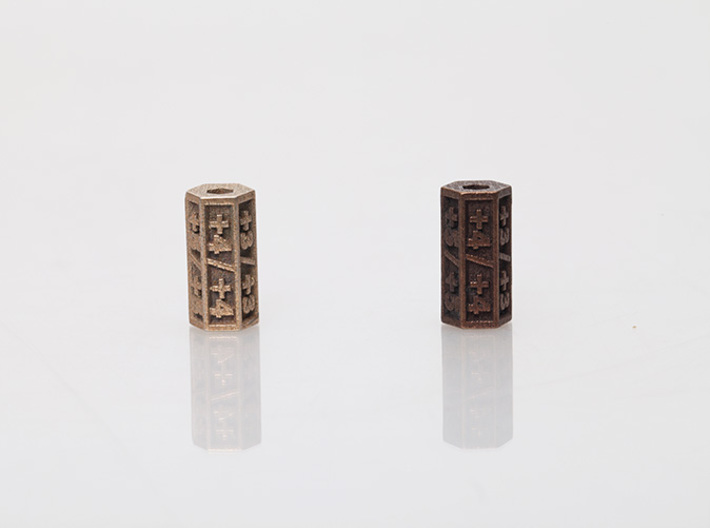 Magic:The Gathering  +1/+1 Counter  3d printed Stainless Steel(left) & Antique Bronze Glossy(right)