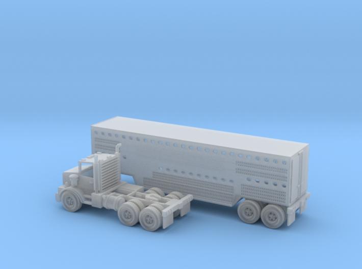 Slaughter Trailer W Semi Z Scale 3d printed Semi with Slaughter trailer transport Z scale