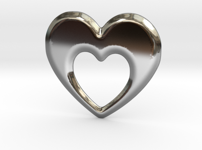 Heart within a heart pendant 3d printed