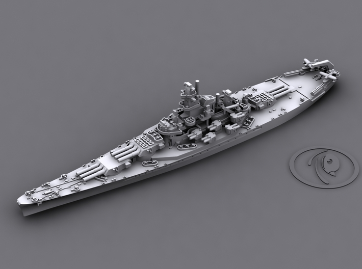 1/4000 US BB South Dakota Class [1942] 3d printed BB58 Indiana [1942]