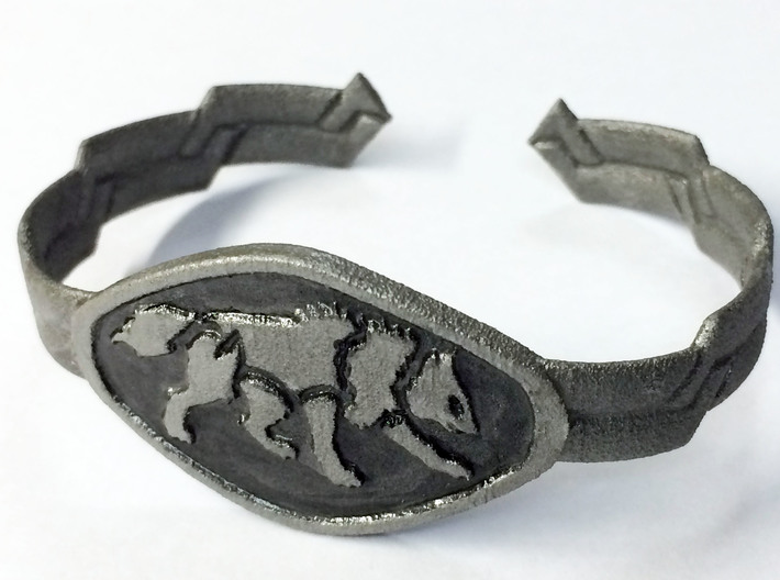 """2.5"""" Wolf Bracelet 3d printed Painted White Strong And Flexible"""