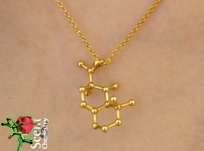 Iso E Super 3d printed Detailed view of Iso E Super (Arborone) pendant worn on an 18k gold-plated Thomas Sabo Charm Club KE1219-413-12-L42v necklace.