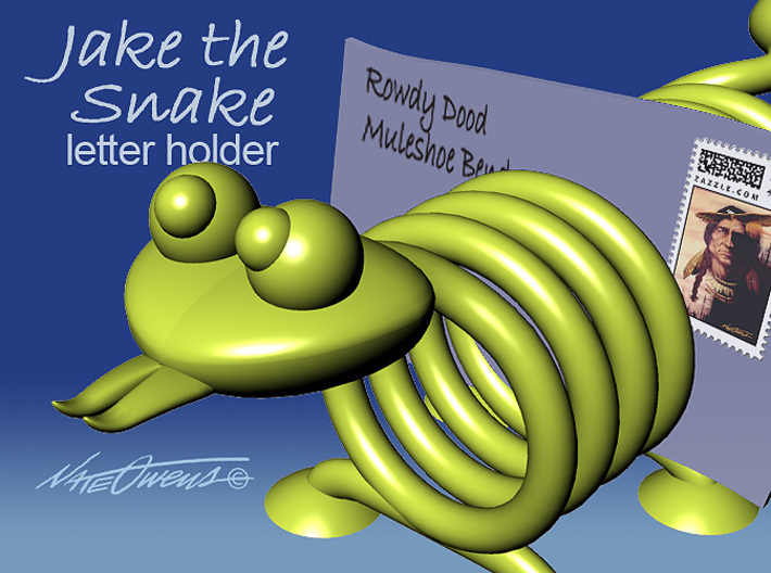 Jake the Snake letter holder 3d printed Jake the Snake can help keep your letters and bills organized