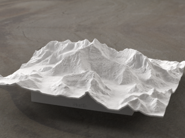 6''/15cm Mt. Everest, China/Tibet, WSF 3d printed Radiance rendering of Everest massif model from the North