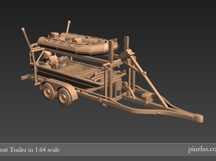 Boat trailer 01. N Scale  (1:160) or 10mm 3d printed Trailer with boats (not included)