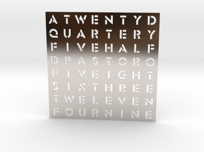 Timesquare Wordclock faceplate (Stencil font) 3d printed