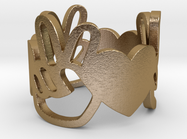 Peace and Love Ring Size 8 3d printed