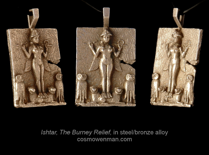 Steel Queen of the Night, Ishtar pendant 3d printed