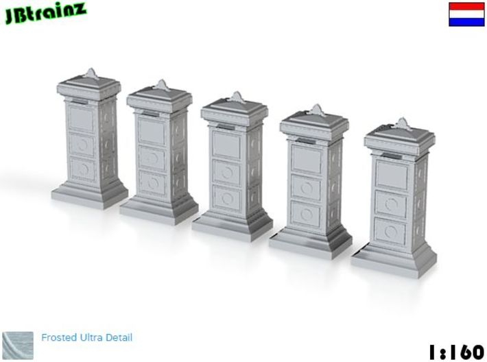 5 Mailboxes Old Dutch (1:160) 3d printed