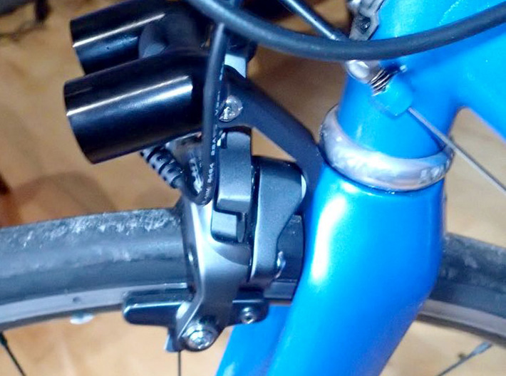Fork Crown GoPro mount 3d printed Printed design installed with AyUp lights mounted.