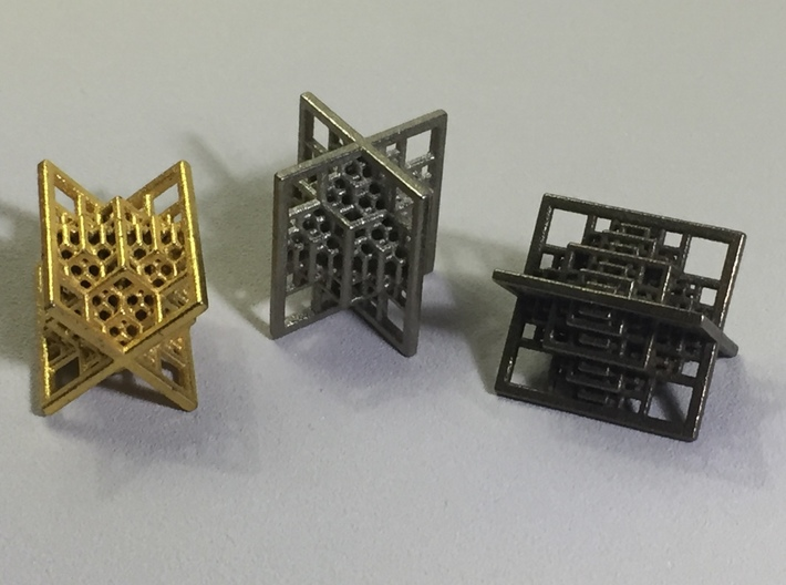 Beamed CuboOctahedron Mini 3d printed Gold, Nickel and Bronze plated steel