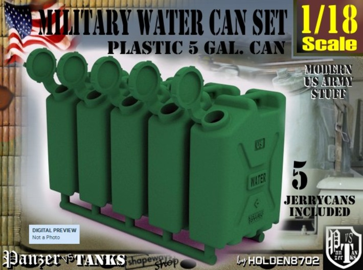 1-18 Military Water Can 5 Units 3d printed