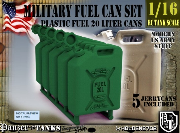 1-16 Military Fuel Can 5 Units 3d printed