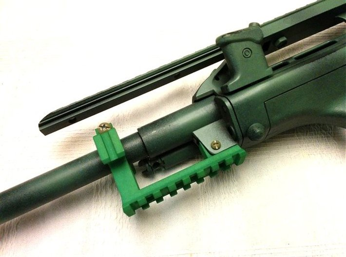 AUG Barrel Stabilizer with Rails 3d printed