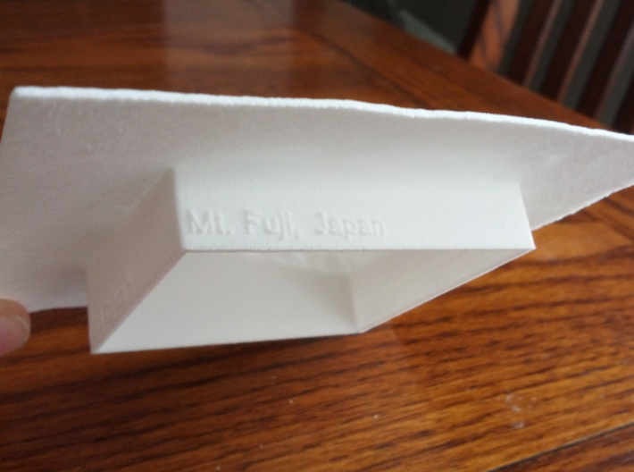 4''/10cm Mt. Fuji, Japan 3d printed Photo of model, showing the base and underside