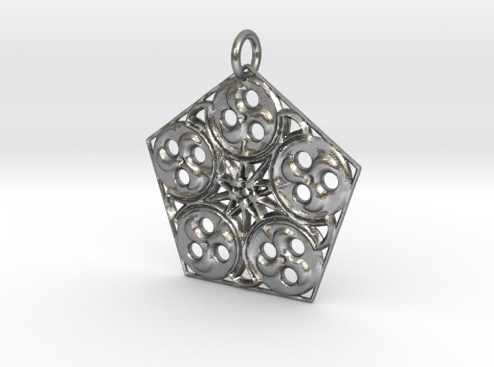 Pentagon Swirls Mandala Pendant 3d printed