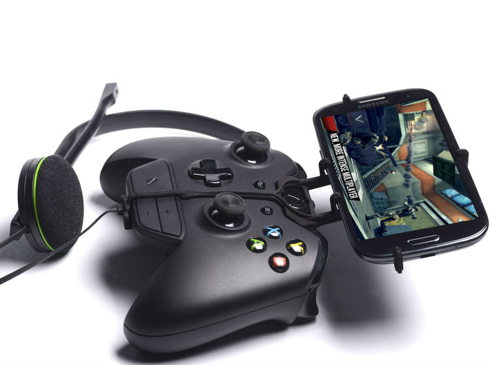 Xbox One controller & chat & Lenovo K5 Note - Fron 3d printed Side View - A Samsung Galaxy S3 and a black Xbox One controller & chat