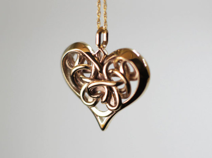 Tied Heart Pendant 3d printed