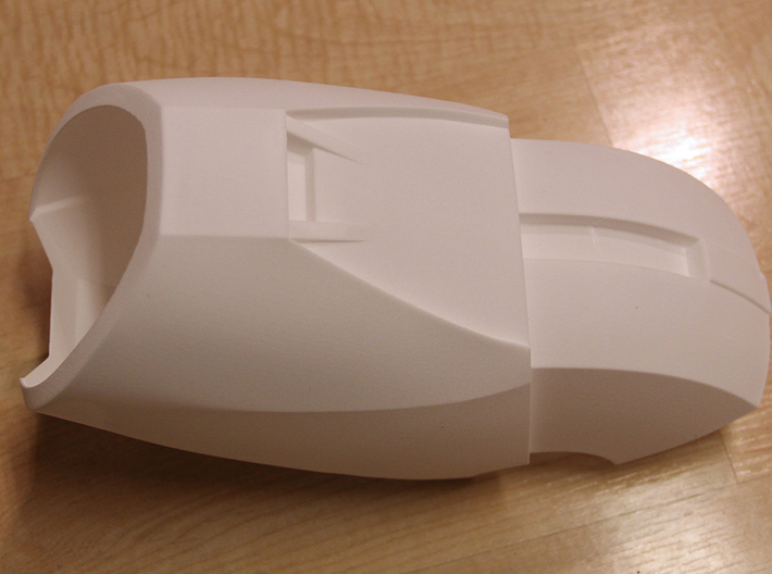 Iron Man Mark IV/Mark VI upper ForeArm Armor 3d printed Actual 3D print using the Strong & Flexible Plastic, bottom