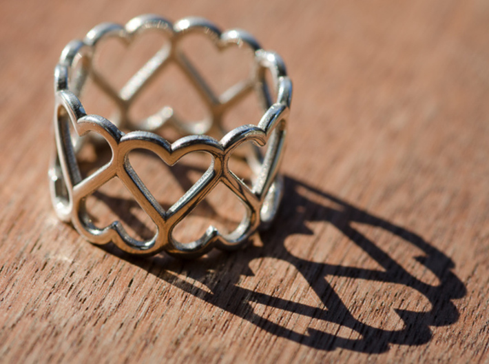 The Ring of Hearts (18 Hearts) Size US 9 1/2 3d printed