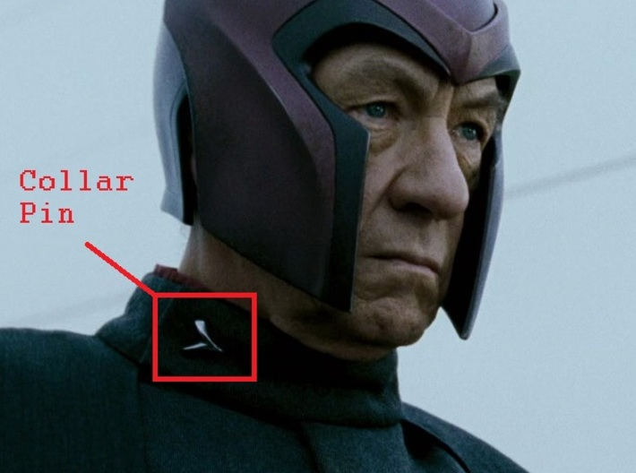 Magneto X-Men: 2 Collar Pin with tie tack back pos 3d printed Still photograph from movie