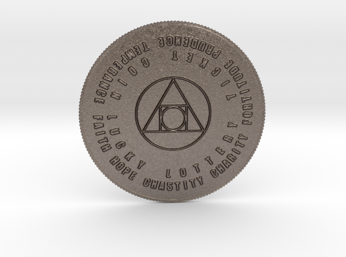 7 Virtues Philosopher's Stone Lottery Coin 3d printed