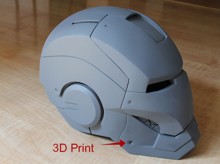 Iron Man Helmet detail - Jaw Rivot (Only One) 3d printed 3D print incorporated into Helmet Armor, Sanded & Primed