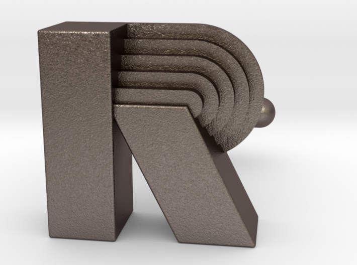 R Art Deco Cufflink Letter 3d printed
