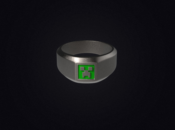 Creeper Signet Ring (Size 7 1/2 | 17.7 mm) 3d printed 3D render of the ring in Stainless Steel; not a photo and does not arrive painted.