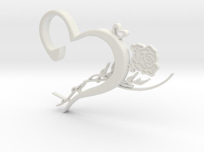 Heart & Rose Necklace Pendant 3d printed